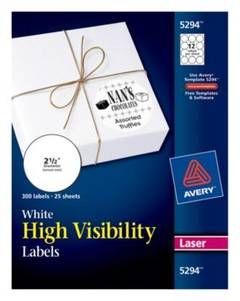 Avery® 2-1/2in dia High-Visibility Round Laser Labels- White (300 per Pack) : Target