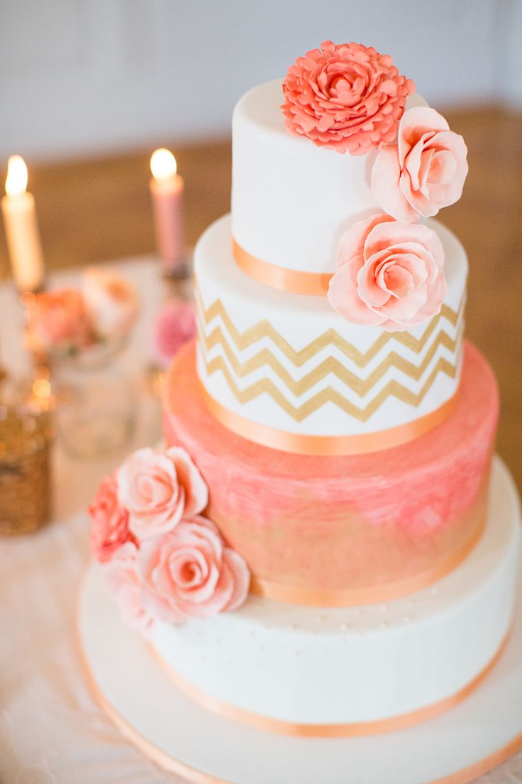 Peach and gold chevron #cake. Photography: Sandra Marusic - www.sandramarusic.ch