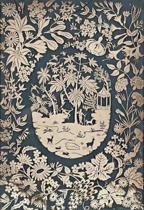 (Imagerie) - Canivet (très grande dimension): scène exotique cernée d'une abondante végétation. [19e s.]. Découpe aux ciseaux et instruments dans une feuille de papier vélin couleur sable (62 x 43 cm),… - Henri Godts - 09/12/2014