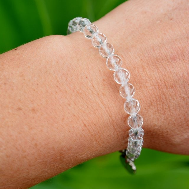 The Crystal Divine Bracelet. Crystal Quartz gemstones, 100% sterling silver. Original designs by Kat Atkins. Shop Now.