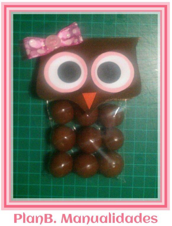 Lindo #recuerdo para #babyshower de #niña!  #Buho con dulces! #owl  #PlanBManualidades