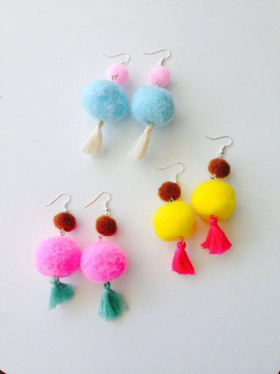 Pom Pom Earrings Tassel Earrings Lantern Earrings Pom