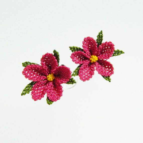 Silk needle  earrings.  Handmade  fixed  produce by guldemirdinc, $35.00