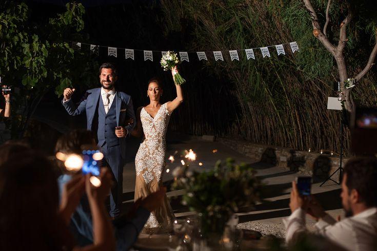 wedding party villa marsan antiparos groom and bride banners just married greek wedding