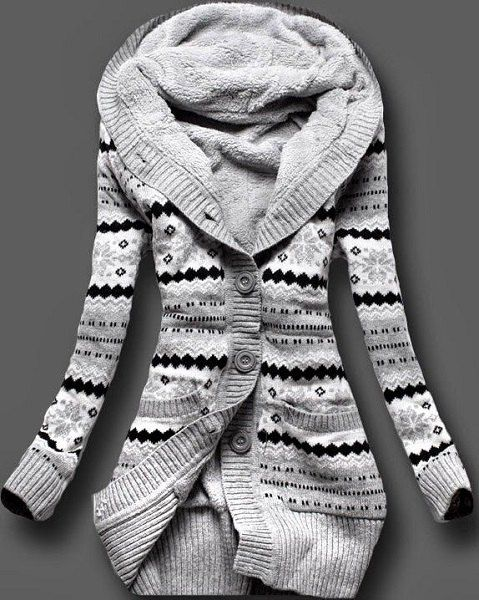 Stylish Hooded Long Sleeve Geometric Single-Breasted Cardigan For Women