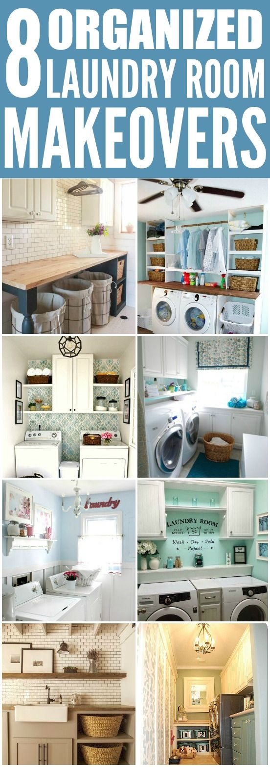 These 8 organized laundry room makeovers are THE BEST! I'm so happy I found these AWESOME tips! Now I have ideas on how to decorate my laundry room! Definitely pinning for later!