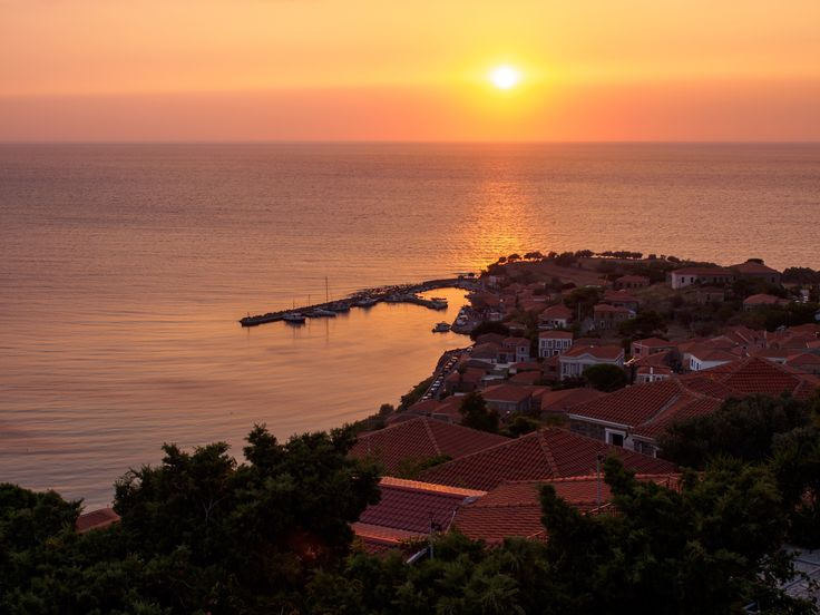VISIT GREECE| Sunset on Molyvos village on Lesvos island #visitgreece #greece