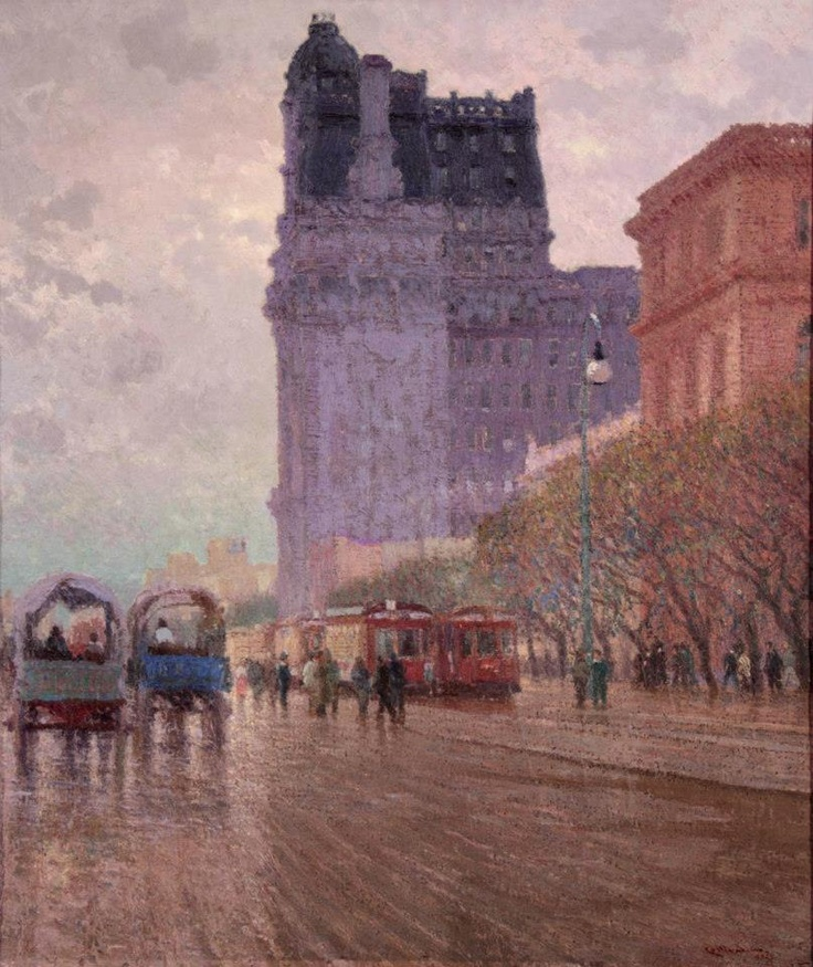 Paseo Colón - Oleo - Pio Collivadino (1869/1945) Pintor Argentino