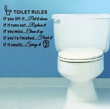 Toilet Rules Bathroom Removable Wall Sticker Glass Vinyl Art Decal Home Decor A2