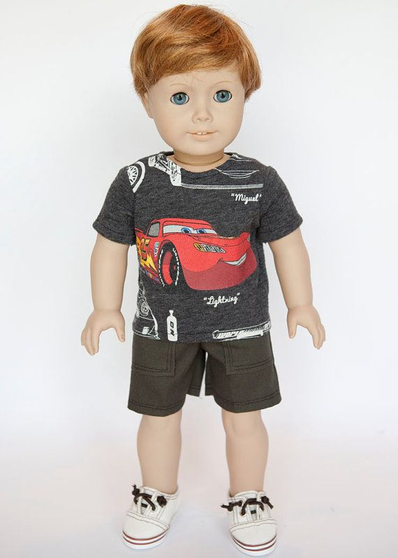 American Boy doll upcycled Lightening McQueen by EverydayDollwear, $9.00