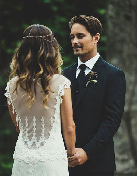 I love everything about this bride - her subtle ombré locks, that exquisite backless lace dress and her boho head band... perfectly bohemian chic. And her fiancé is besotted with his bride <3 so sweet!