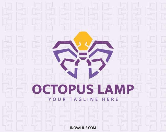Animal logo with the shape of an octopus combined with a lamp composed of  abstract shapes