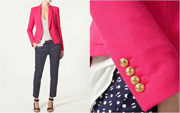 {pink blazer + navy pants}
