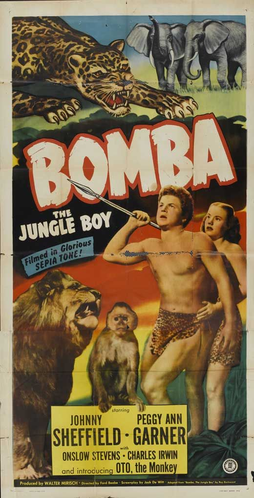 """Bomba the Jungle Boy is a series of American boy's adventure books in imitation of the successful Tarzan series. In 1949, Monogram Pictures brought the character to the motion-picture screen, in the person of Johnny Sheffield. 12 films were made between 1949 and 1955. """"Bomba, the Jungle Boy"""" (1949) Dir. Ford Beebe. Stars: Johnny Sheffield, Peggy Ann Garner, Onslow Stevens."""