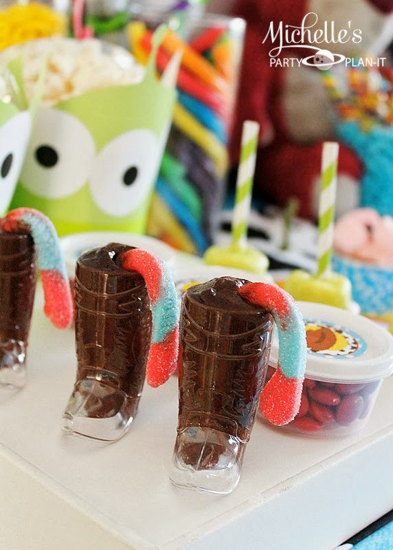 There's a Snake in my boot chocolate pudding cups. Toy Story Party ideas at Michelle's Party Plan-It: You've Got a Friend in Me!