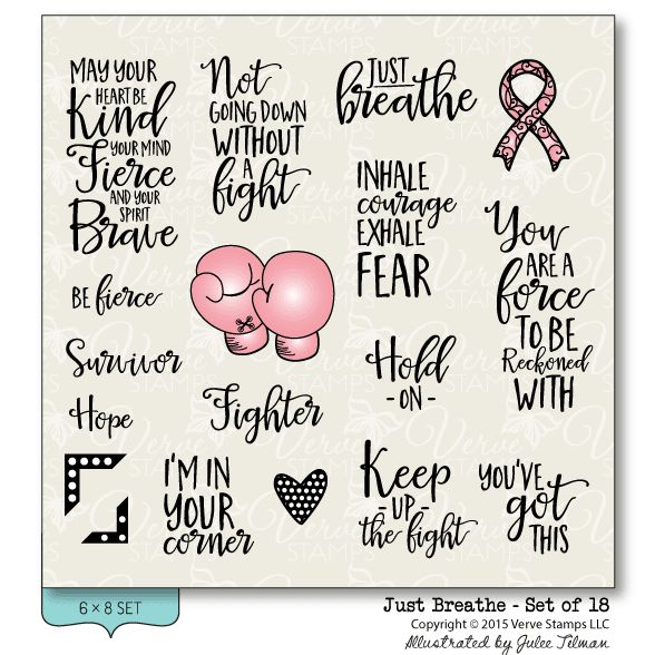 Just Breathe clear stamp set from Verve Stamps. Encouraging and uplifting, this is the perfect set to create cards and gifts for anyone who's facing a tough battle. #vervestamps | Breast Cancer Awareness