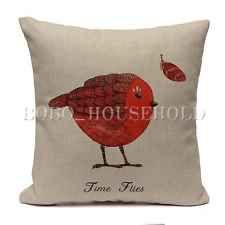 Vintage Bird Throw Pillow Case Linen Cotton Home Bed Decor Cushion Cover Square [Red Bird]