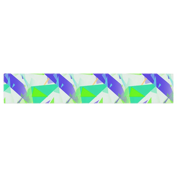 "Alison Coxon ""Confetti Triangles Blue"" Green Teal Table Runner"