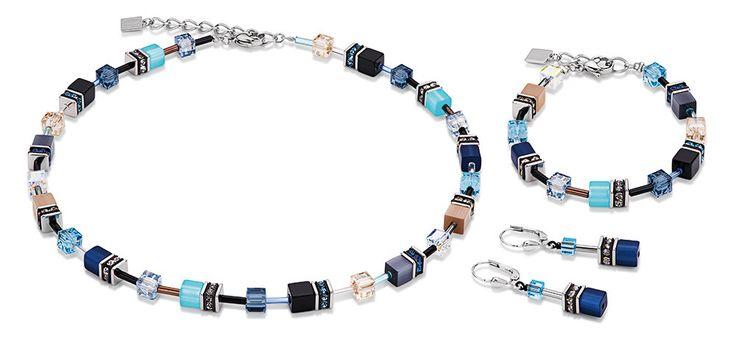 Geo Cube beach blue necklace, earrings and bracelet 2838_0710 – coeur de lion jewellery