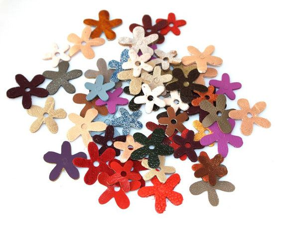 Small Leather Flowers  60pcs . Colorfull Die Cut by ramonaignat
