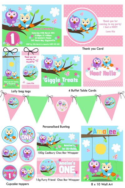 Hoot & Hootabelle Party Printable - Pink