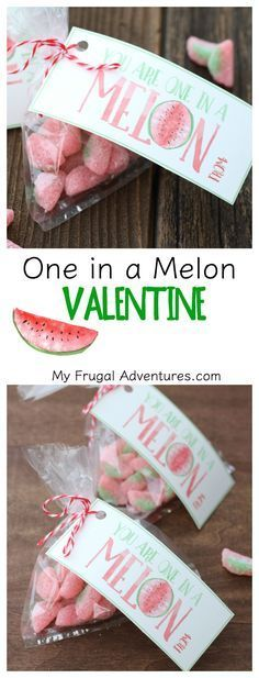 Adorable One in a Melon Printable valentine- so cute with watermelon candies or watermelon candles for teachers!  Perfect Valentine for teenagers.