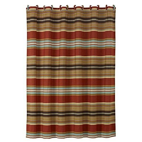 Southwestern Shower Curtain Horizontal Striped Shower Curtain Luxe Gold Red Blue Mexican Native Western Country Bath Polyester Brown Striped Shower