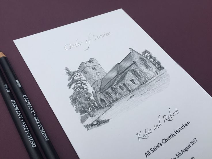 ORDER OF SERVICE; With your church sketched on the front and your service printed on the inside, this is both a beautifully printed Order of Service and a keepsake for your friends and family to take home. Designed exclusively for you.