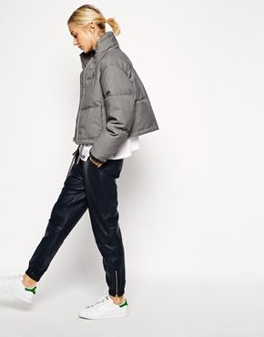 Enlarge ASOS WHITE Grey Marl Quilted Jacket