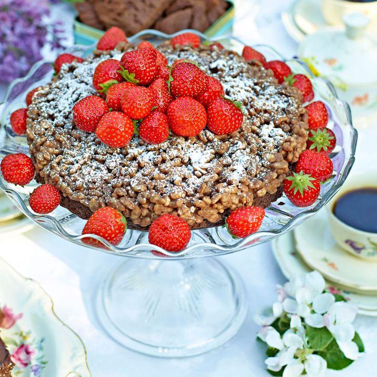 Sommarmums med jordgubbar och choklad.
