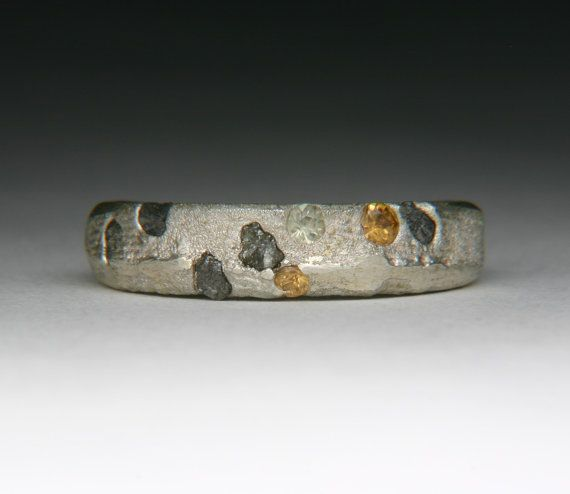 Float Cast Cuttle Fish Bone Ring with rough by jewelscurnow, $220.00
