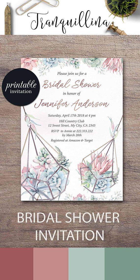 ideas for handmade bridal shower invitations%0A Succulent Bridal Shower Invitation Floral Bridal Shower Invitation Spring Bridal  Shower Invitation Pastel rose gold bridal Shower Invitation