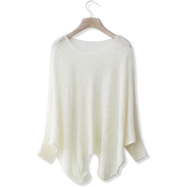 Chicwish White Slouchy Sweater (€38) ❤ liked on Polyvore featuring tops, sweaters, white, white crew neck sweater, white batwing top, white ribbed sweater, white tops and white sweater