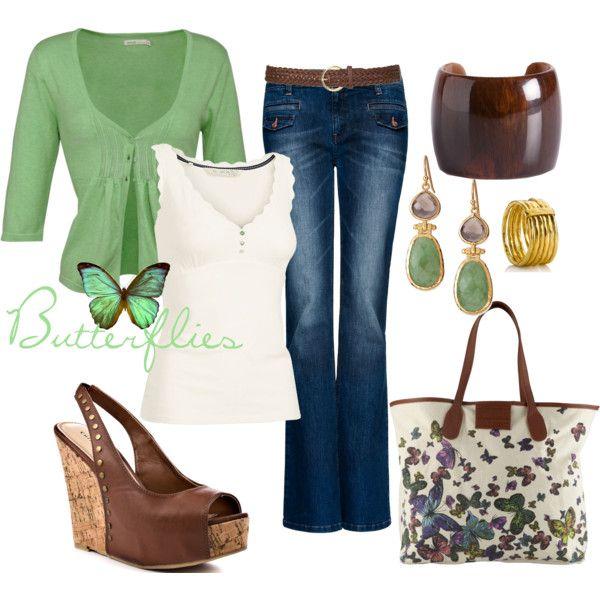 Green, cream and butterflies