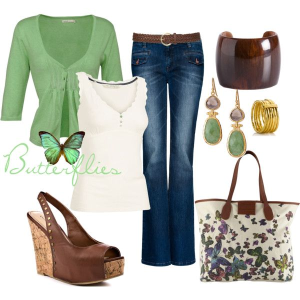 Green, cream and butterflies, created by luchenskil: Shoes, Casual Chic, Green And Brown, Dreams Closet, Color, Tanks Tops, Casual Outfits, Spring Outfits, Nice Outfits