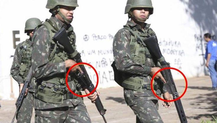 Alguns soldados do Exército Brasileiro que atuaram no patrulhamento na Esplanada dos Ministérios, nesta semana, estavam com os fuzis sem carregadores.