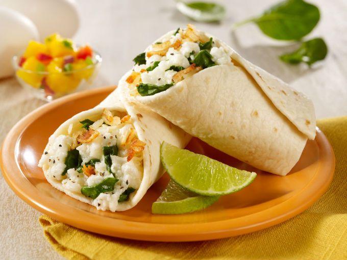 Burrito vegetariano para el desayuno