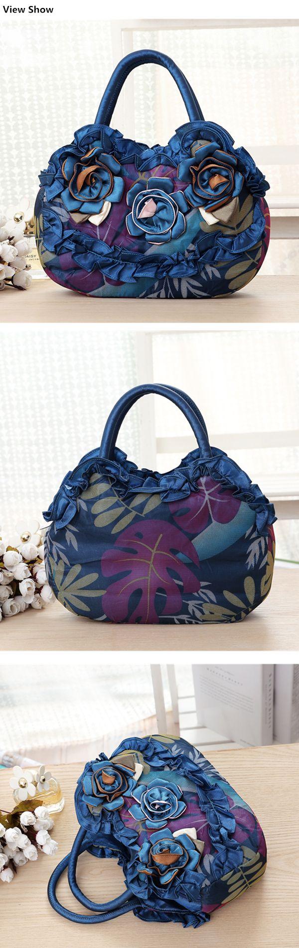 Women National Floral Polyester Handbag