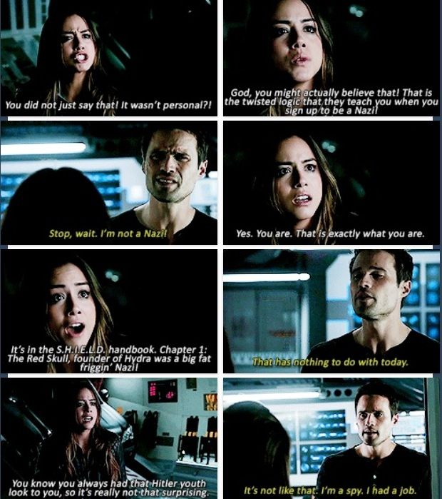 Skye and Ward. So happy with Skye and that she's not running back to Ward even when he just betrayed her.