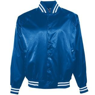 Silky satin jackets were big in the early '80s..totally had a navy blue one with my school logo on it!!