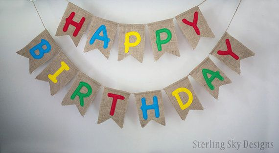 Birthday Banner Burlap Birthday Banner by SterlingSkyDesigns