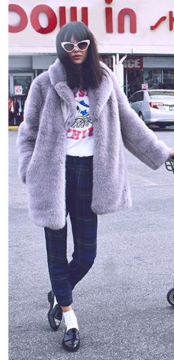 Fall Coat Trends 2014 Lookbook | SHOPBOPfur coat, plaid, fur coat, loafers