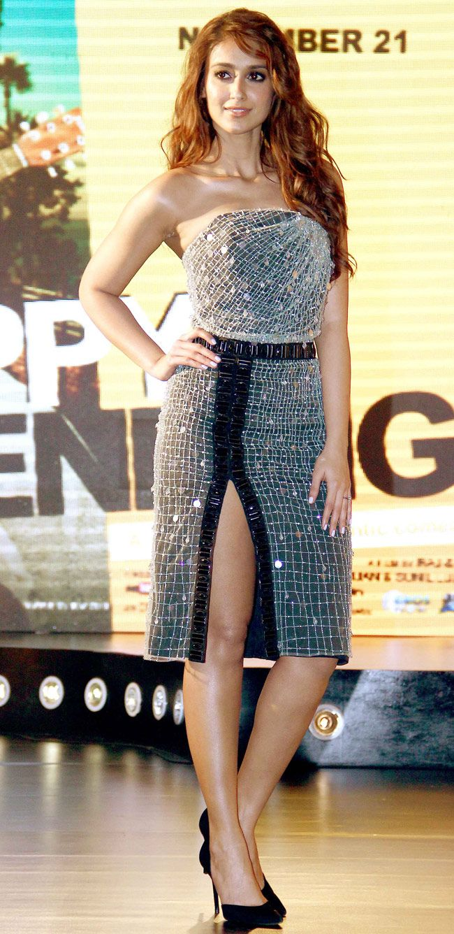 Ileana D'Cruz upped the glam quotient in an embellished Giorgio @armani Spring 2013 dress at the music launch of 'Happy Ending'.