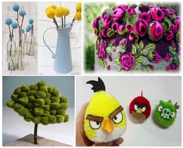 дерево из помпонов, помпоны из ниток, игрушки цветы мебель из бубунов пампонов