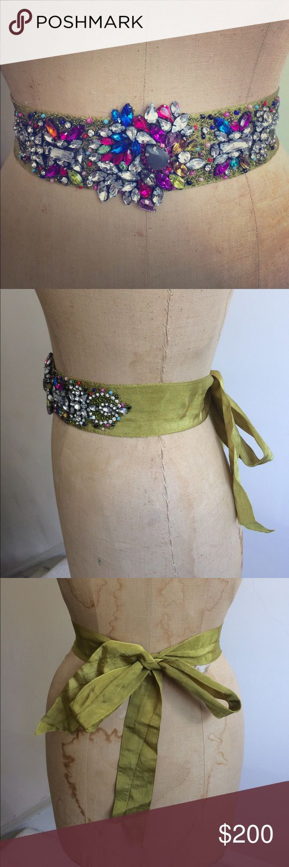 """EUC Anthro Jeweled Sash by Deepa Gurnani Gorgeous sash only used once and all gems still intact. By designer Deepa Gurnani. Hand crafted and so special. Pricey piece but the craftsmanship shoes why. 65"""" in total. Width 2"""" Anthropologie Accessories Belts"""