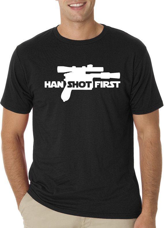 Han Shot First tshirt.. Han Solo tshirt.. Han by TheVinylGoods