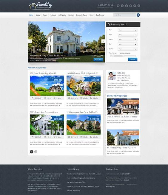 Esta plantilla inmobiliario WordPress incluye una funcionalidad de búsqueda de propiedades, el inmueble destacados slider, 4 widget personalizado, integración de Google Maps, un formulario de contacto Ajax, integración de medios de comunicación social, y un montón de otras características.