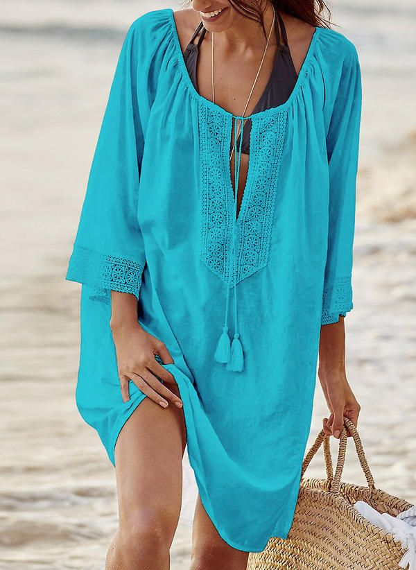 e95175f80f [US$ 26.99] Solid 3/4 Sleeves Shift Knee Length Casual/Vacation Dresses  (199230850)