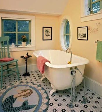 Claire Murrya's Mermaid Rug spotted in Bathroom. Shop the Look: http://www.completely-coastal.com/2010/03/nautical-rugs.html