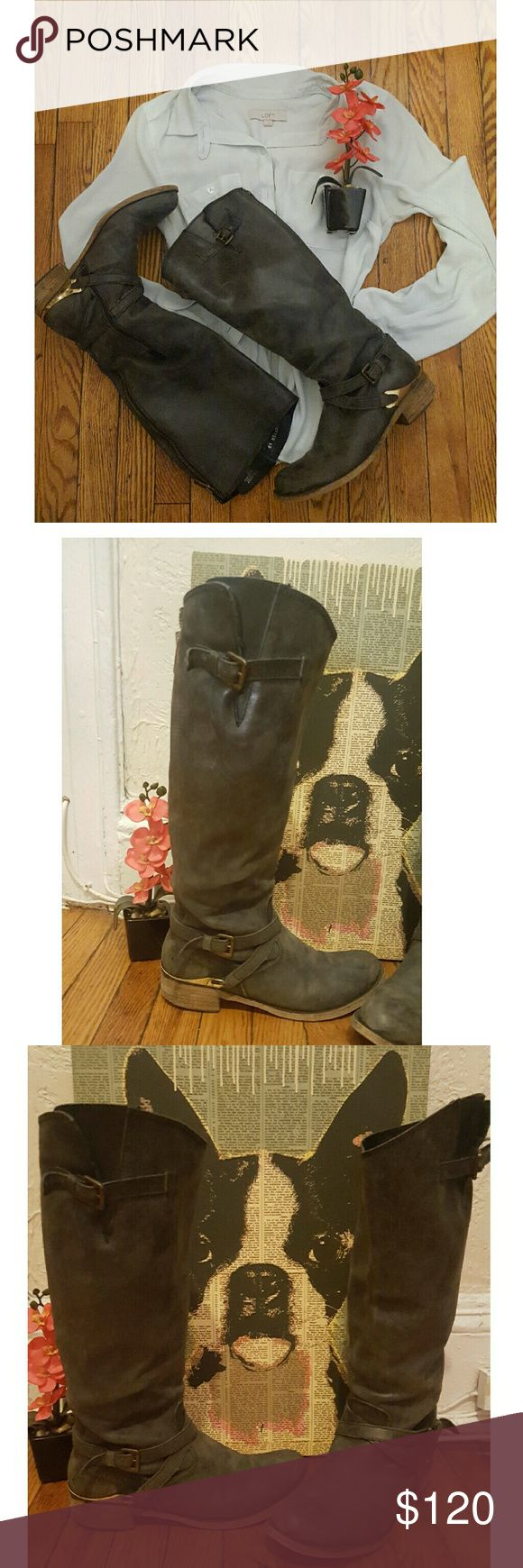 Steve Madden Shepton Leather Tall Riding Boots 10 Really nice condition..just normal wear on heels.. no smells.. leather is stunning.. Color is like a dark charcoal grayish color. Has a gold decor on heel area.. I got plenty compliments when I'd wear em Steve Madden Shoes Heeled Boots